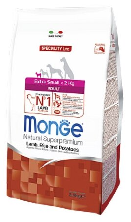 Корм для собак Monge Speciality Extra Small Adult Ягненок с рисом и картофелем