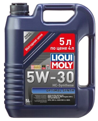 LIQUI MOLY Optimal Synth 5W-30 (нс/синт) 5л  / АКЦИЯ !!! 5л по цене 4л