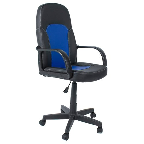 Компьютерное кресло TetChair Парма офисное, обивка: искусственная кожа, цвет: черный/синий компьютерное кресло tetchair jazz офисное обивка искусственная кожа цвет бежевый коричневый 4230