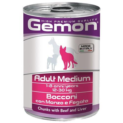 Корм для собак Gemon Кусочки с говядиной и печенью. Консервы для собак средних пород (0.415 кг) 1 шт.Корма для собак<br>