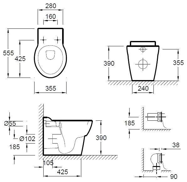 Купить унитаз jacob delafon ove e1584-00 сантехника соединения канапизацыонных труб