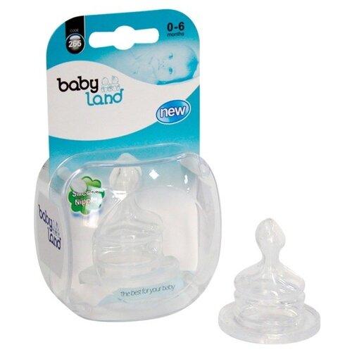 Купить Соска Baby Land Силиконовая с узким горлышком ортодонтическая 0м+ 1шт., Соски для бутылочек