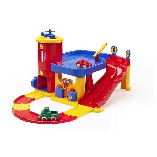Viking Toys Гараж с дорогой голубой/красный/желтый/зеленый самолет viking toys 02141 10 см желтый
