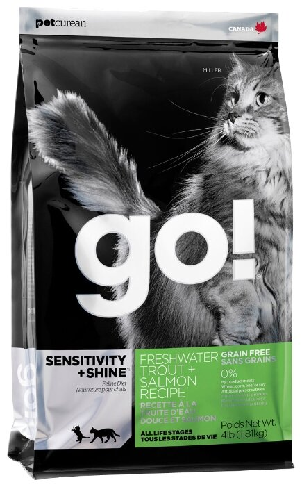 Корм для кошек GO! Sensitivity + Shine Trout+Salmon Cat Recipe, Grain Free