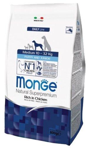 Корм для собак Monge Dog Medium Puppy&Junior – Курица с рисом. Для щенков и юниоров средних пород