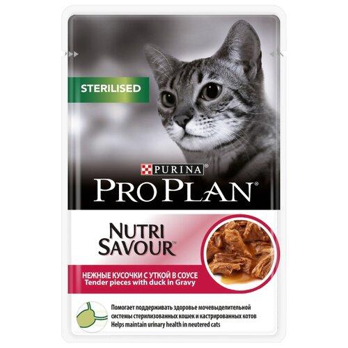 Корм для стерилизованных кошек Pro Plan Nutrisavour с уткой 85 г (кусочки в соусе)