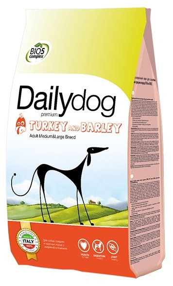 Корм для собак Dailydog Adult Medium and Large Breed turkey and barly