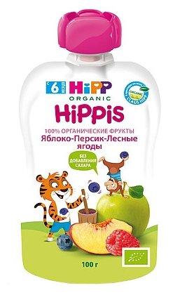 Пюре HiPP яблоко-персик-лесные ягоды (с 6 месяцев) 100 г