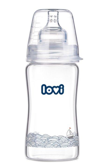 Lovi Бутылочка стеклянная Diamond Glass 250 мл Marine с рождения