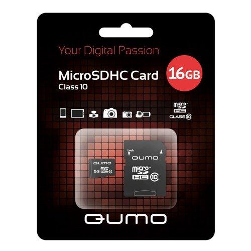 Карта памяти Qumo microSDHC class 10 + SD adapter 16 GB, адаптер на SD