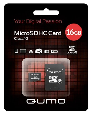 Карта памяти Qumo microSDHC class 10 16GB + SD adapter