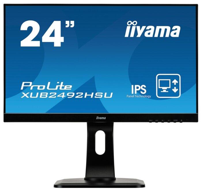 "Монитор Iiyama 23.8"" ProLite XUB2492HSU-B1 черный IPS LED 5ms 16:9 HDMI M/M матовая HAS Pivot 250cd 178гр/178гр 1920x1080 D-Sub DisplayPort FHD USB 5.4кг (XUB2492HSU-B1)"