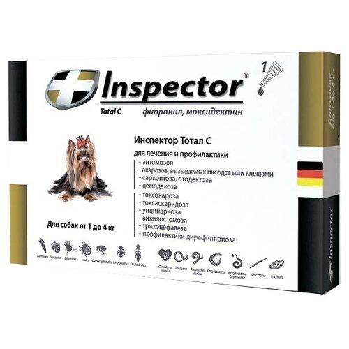 Inspector Total C Капли от блох, клещей и гельминтов для собак от 1 до 4 кг inspector total k капли от блох клещей и гельминтов для кошек от 8 до 15 кг
