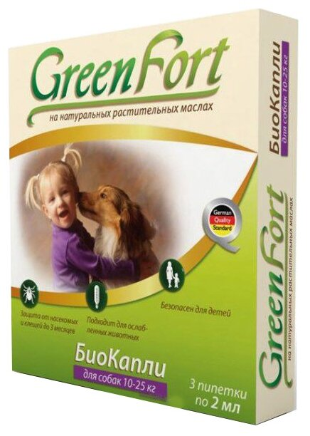 GreenFort БиоКапли от блох для собак 10–25 кг (3 пипетки)