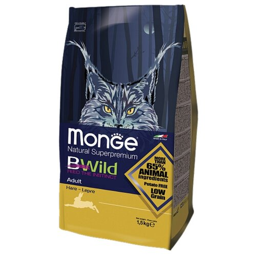 Корм для кошек Monge Bwild Cat Hare (1.5 кг)Корма для кошек<br>