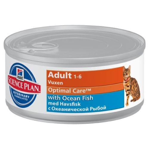 Влажный корм Hill's Science Plan (0.085 кг) 1 шт. Feline Adult Optimal Care with Ocean Fish Canned