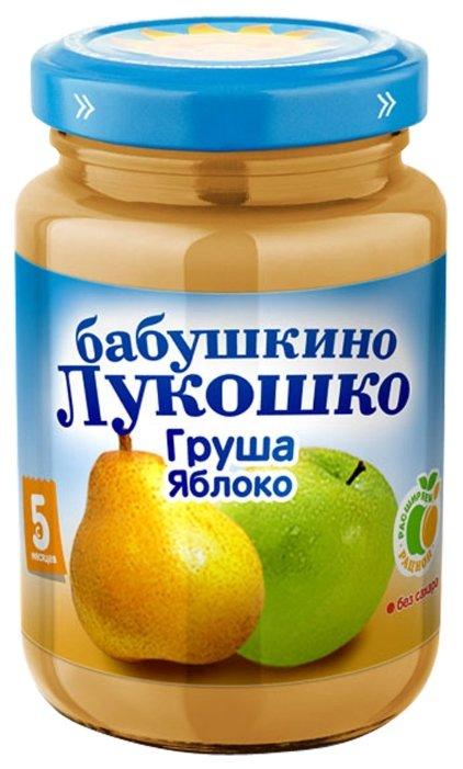 Пюре Бабушкино Лукошко груша-яблоко (с 5 месяцев) стеклянная банка 200 г, 6 шт