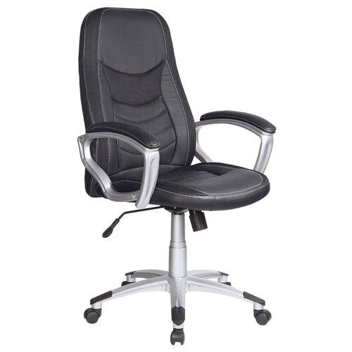 Компьютерное кресло Бюрократ T-9910 для руководителя, обивка: текстиль/искусственная кожа, цвет: черный кресло руководителя бюрократ t 9910n black черный искусственная кожа пластик серебро