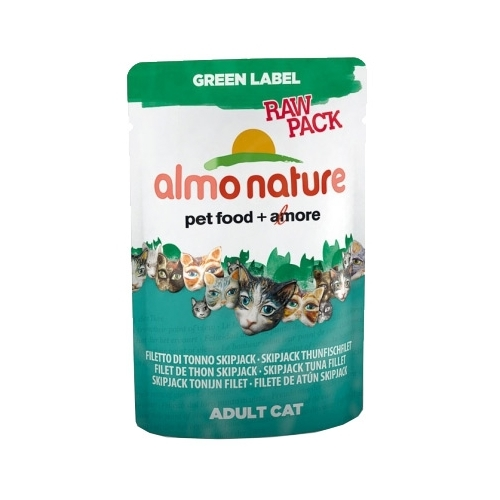 Almo Nature Green Label Raw Pack Adult Cat Skipjack Tuna Fillet (0.055 кг) 12 шт. Корма для кошек