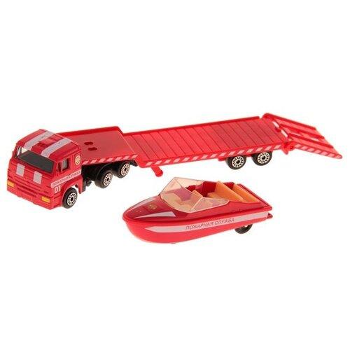 Купить Набор машин ТЕХНОПАРК КамАЗ Автотранспортер пожарный с лодкой (SB-16-30-F) 15.5 см красный, Машинки и техника