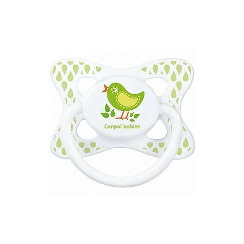 Купить Пустышка латексная классическая Canpol Babies Summertime 0-6 м (1 шт) белый/птичка, Пустышки и аксессуары