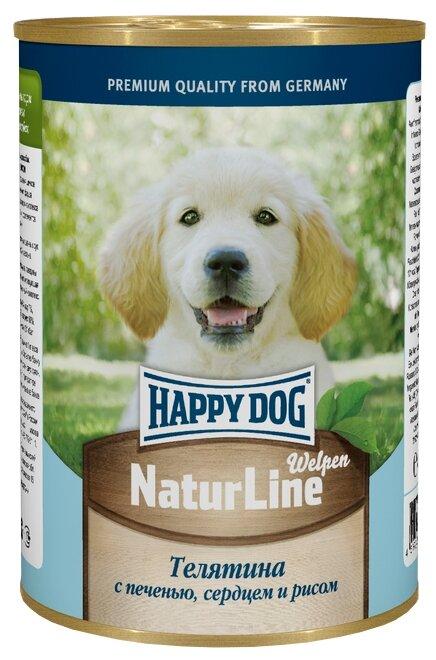 Корм для щенков Happy Dog NaturLine телятина, печень, сердце с рисом 10шт. х 400г