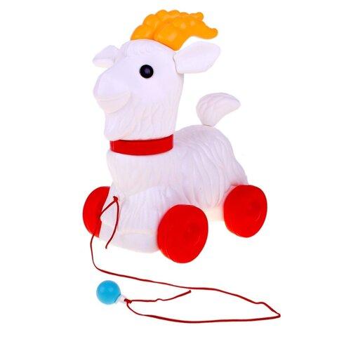 Купить Каталка-игрушка ОГОНЁК Козлик белый/красный/оранжевый, Каталки и качалки