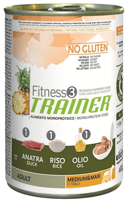 Корм для собак TRAINER Fitness3 No Gluten Adult Medium&Maxi Duck and rice canned