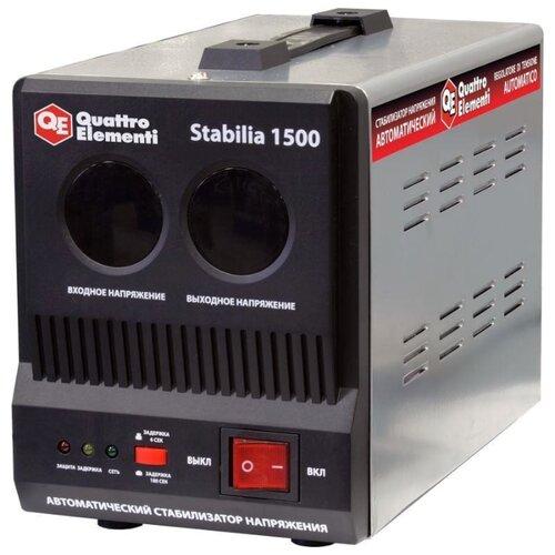 цена на Стабилизатор напряжения однофазный Quattro Elementi Stabilia 1500 (0.9 кВт) черный