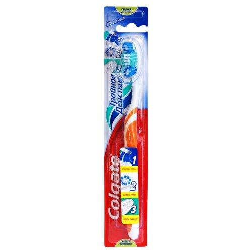 Зубная щетка Colgate Тройное действие многофункциональная, средней жесткости, оранжевыйЗубные щетки<br>