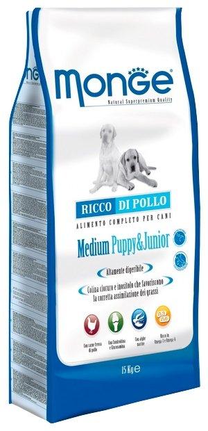 Monge (12 кг) Dog Medium Puppy&Junior – Курица с рисом. Для щенков и юниоров средних пород