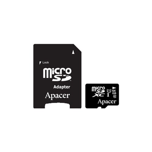 Фото - Карта памяти Apacer microSDXC Card Class 10 UHS-I U1 64GB + SD adapter карта памяти samsung 64gb evo plus v2 microsdxc class 10 u1 sd adapter mb mc64ha