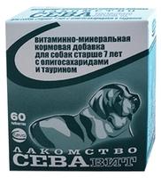 Добавка в корм Сева СЕВАвит для собак старше 7 лет с олигосахаридами и таурином 60 шт.
