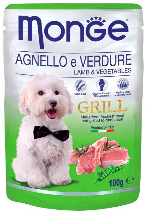 Monge (0.1 кг) Grill – Влажный корм для собак из ягненка с овощами