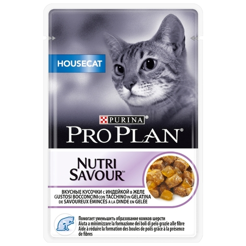 Корм для кошек Purina Pro Plan (0.085 кг) 1 шт. NutriSavour Housecat with Turkey in jelly