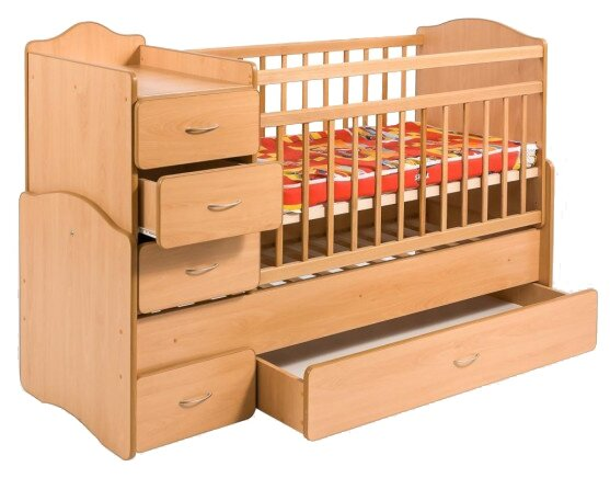 Кроватка Гойдалка Кровать-трансформер с ящиком и тумбой