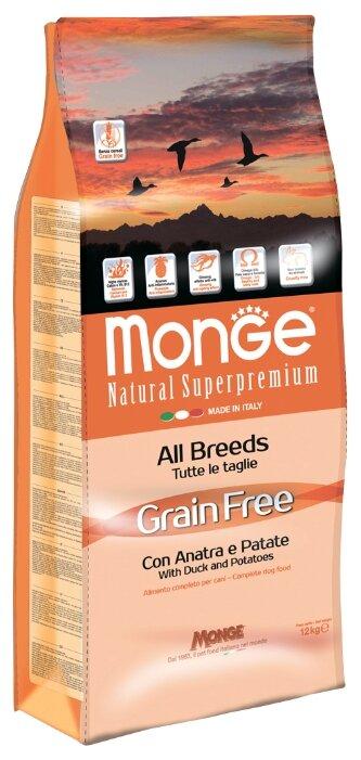 Корм для собак Monge Grain Free – Утка с картофелем. Беззерновой корм для собак