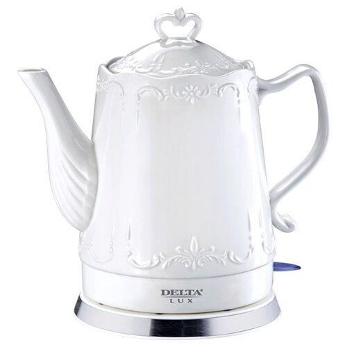 Чайник DELTA LUX DL-1236, белый блендер delta lux dl 7313