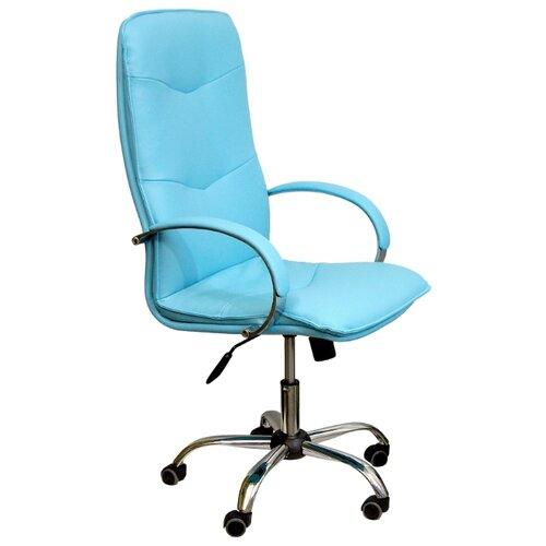 Компьютерное кресло Креслов Лидер КВ-05-130112 для руководителя, обивка: искусственная кожа, цвет: лазурный кресло компьютерное креслов орман кв 08 130112 0453