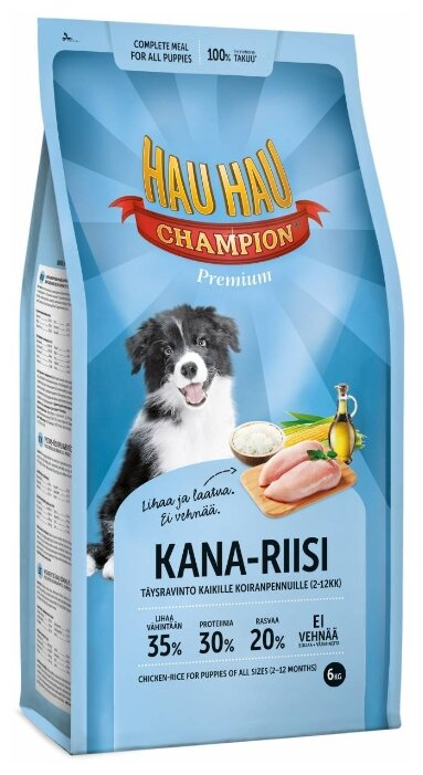 Корм для собак Hau-Hau Champion Chicken-Rice Puppy