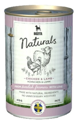 Корм для собак Bozita Naturals ягненок, курица 410г