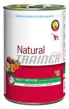 Корм для собак TRAINER Natural Adult Medium Beef, Rice and Ginseng canned