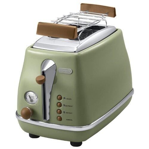 Тостер De'Longhi CTOV 2103.GR Icona Vintage, зеленый delonghi ctov 2103 gr icona vintage ekmek kızartma makinası 3 farklı renk