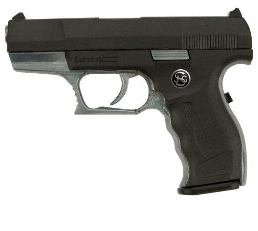 Euro-Cop пистолет полицейского 16,5 см Schrodel 3060961 Police Евро Коп игрушечный детский полицейский металлический пистолет на пистонах оружие полицейского 306 0961