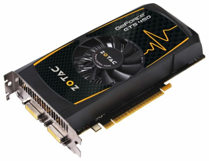 ZOTAC GeForce GTS 450 810Mhz PCI-E 2.0 1024Mb 3608Mhz 128 bit 2xDVI Mini-HDMI HDCP
