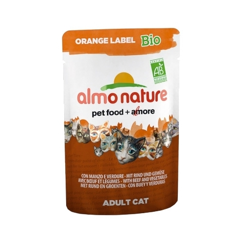 Almo Nature Orange Label Bio Adult Cat Beef and Vegetables (0.07 кг) 12 шт. Корма для кошек
