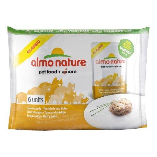 Фото - Корм для кошек Almo Nature Classic с курицей, с тунцом 6шт. х 55 г консервы для кошек almo nature нежный мусс с уткой 85 г