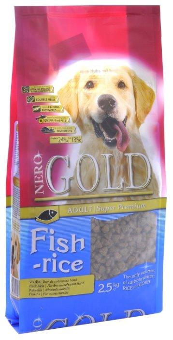Корм для собак Nero Gold для здоровья кожи и шерсти, для здоровья костей и суставов, рыба с рисом 2.5 кг