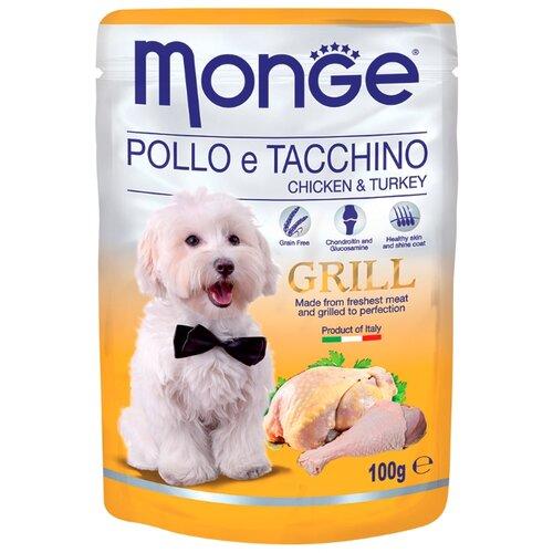 Корм для собак Monge Grill – Влажный корм для собак из курицы и индейки (0.1 кг) 24 шт.Корма для собак<br>