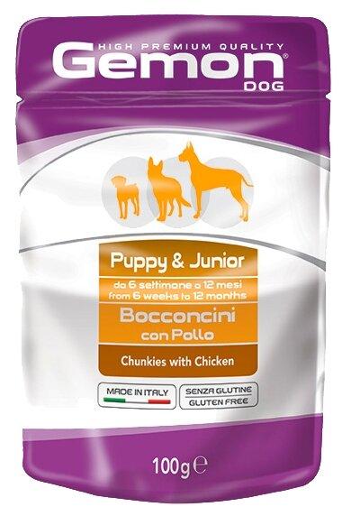 Корм для собак Gemon Кусочки с курицей. Влажный корм для щенков и юниоров (0.1 кг) 24 шт.